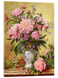 Acrylic print  Vase of peonies and canterbury bells - Albert Williams