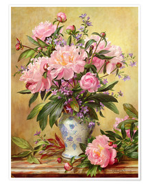 Poster  Vase of Peonies and Canterbury Bells - Albert Williams