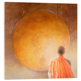 Acrylic glass  Young Buddhist Monk and Gong - Lincoln Seligman