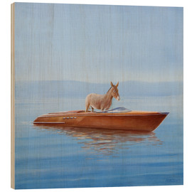 Wood  Donkey in a boat - Lincoln Seligman