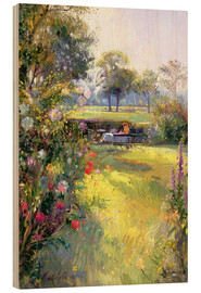 Wood print  Reading in the Garden - Timothy Easton