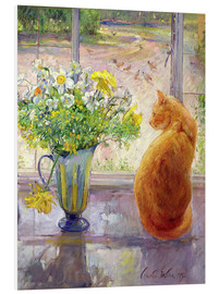 Foam board print  Cat with flowers in the window - Timothy Easton