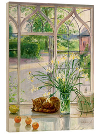 Wood print  Sleeping Cat in the Window - Timothy Easton
