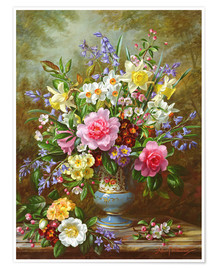 Poster  Bluebells, daffodils, primroses and peonies - Albert Williams