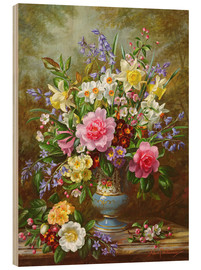 Wood print  Bluebells, daffodils, primroses and peonies - Albert Williams