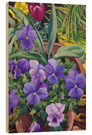Wood print  Flower pots with pansies, 2007 - Christopher Ryland