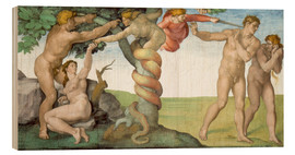 Wood print  Sistine Chapel: The Fall and the Expulsion from Paradise - Michelangelo