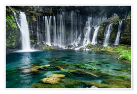 Premium poster  Turquoise blue waterfalls - Jan Christopher Becke