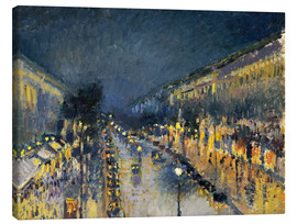 Canvas print  Montmartre Boulevard at night 1897 - Camille Pissarro