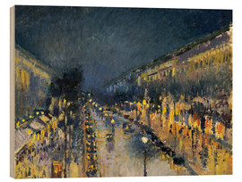 Wood print  Montmartre Boulevard at night 1897 - Camille Pissarro