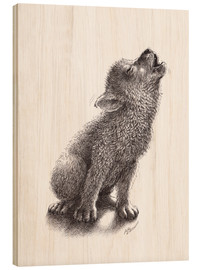 Wood print  Young Howling Wolf - Stefan Kahlhammer