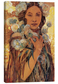 Canvas print  Native American woman with flowers and feathers - Alfons Mucha