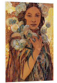 Foam board print  Native American woman with flowers and feathers - Alfons Mucha