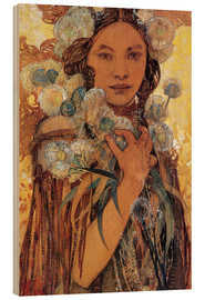 Wood print  Native American woman with flowers and feathers - Alfons Mucha