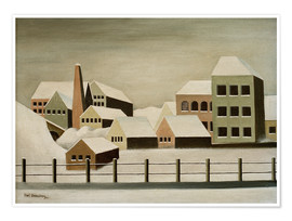 Premium poster  Factory landscape in the snow - Carl Grossberg