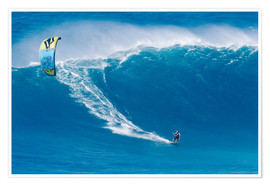 Premium poster  On the Kiteboard in Hawaii - MakenaStockMedia