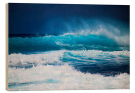 Wood print  Waves off Hawaii, Oahu - Tomas del Amo