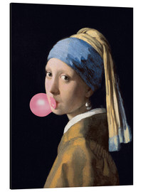 Aluminium print  The Girl with a Pearl Earring (gum)