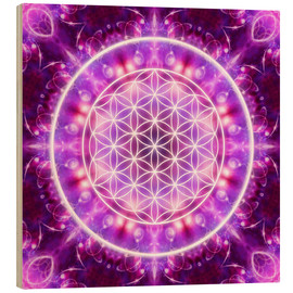 Wood print  Flower of Life, transformation - Dolphins DreamDesign