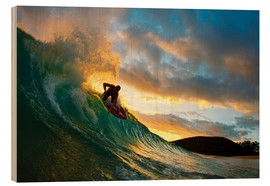 Wood print  Skimboarder at sunset - MakenaStockMedia