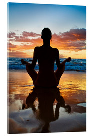 Acrylic print  Yoga on the beach - M. Swiet