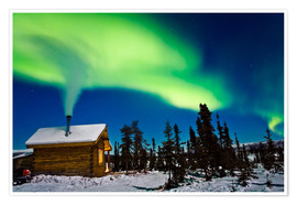 Premium poster  Northern Lights over a hut - Kevin Smith
