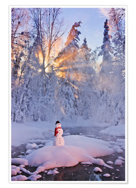 Poster  Snowman on a wintry creek - Kevin Smith