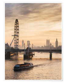 Premium poster  Millenium Wheel with Big Ben, London, England - Charles Bowman
