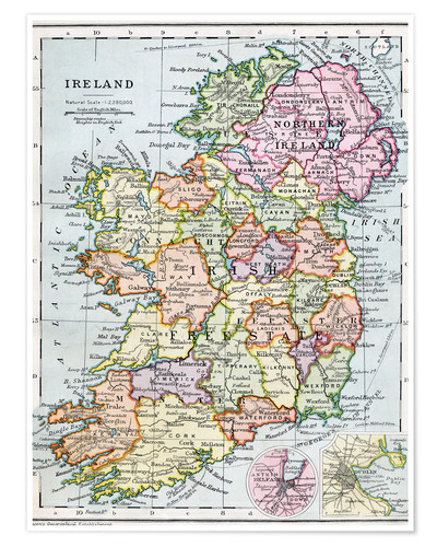 Map Of Ireland Poster.Irish Free State And Northern Ireland Posters And Prints
