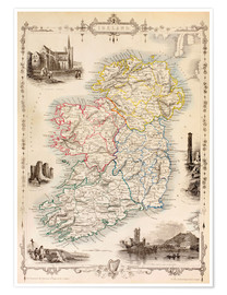 Premium poster  Map Of Ireland by Thomas Wright (18th century) - Ken Welsh