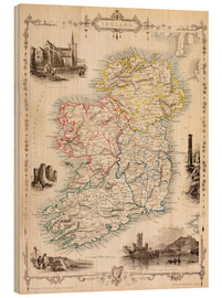 Wood print  Map Of Ireland by Thomas Wright (18th century) - Ken Welsh