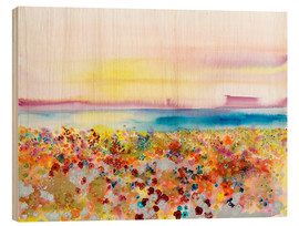 Wood print  Field Of Joy, Abstract Landscape - Tara Thelen