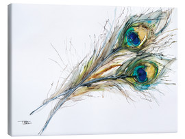 Canvas  Watercolor of two peacock feathers - Tara Thelen