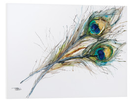 Foam board print  Watercolor of two peacock feathers - Tara Thelen
