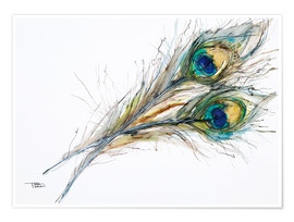 Premium poster Two peacock feathers