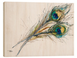 Wood  Watercolor of two peacock feathers - Tara Thelen