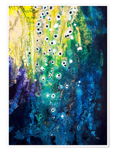Premium poster Flowers and waterfall after Klimt