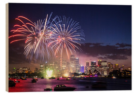 Wood print  New Year's Eve in Sydney - Matteo Colombo