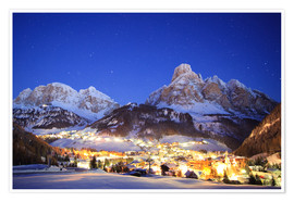 Premium poster Corvara in Badia at night under mountain peak (Sassongher), Sudtirol, Italy