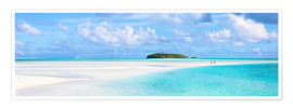 Premium poster Couple on a white beach, Cook Islands