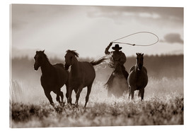 Acrylic glass  Cowboy of the horses catches - Richard Wear