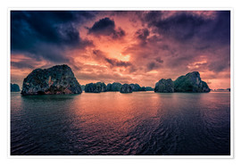 Premium poster  Sunrise over Halong Bay - Stefan Becker