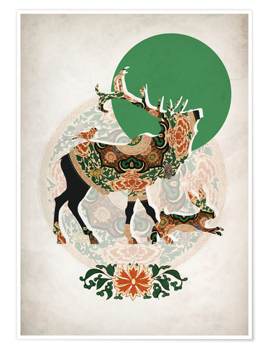 Premium poster Stag, bird and hare