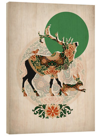 Wood print  Stag, bird and hare - Mandy Reinmuth
