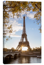 Canvas  Jena bridge and Eiffel tower in autumn, Paris, France - Matteo Colombo