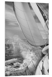 Foam board print  Sailing black / white - Jan Schuler