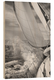 Wood print  Sailing black / white - Jan Schuler