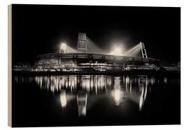 Wood print  Weserstadion, Bremen in black and white - Tanja Arnold Photography