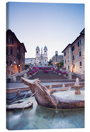 Canvas  Famous Spanish Steps and Bernini fountain, Rome, Italy - Matteo Colombo