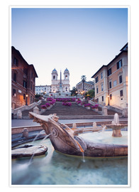 Premium poster  Famous Spanish Steps and Bernini fountain, Rome, Italy - Matteo Colombo
